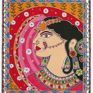 Madhubani - Bride in ghunghat by Jyoti Mallick, Folk Painting, Acrylic & Ink on Canvas, Brown color