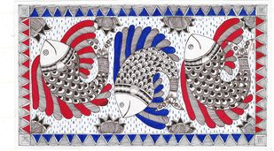 Madhubani - Fish of prosperity Digital Print by Jyoti Mallick,Folk