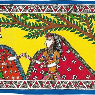 Madhubani - Radha in Vrindavan by Jyoti Mallick, Folk Painting, Acrylic & Ink on Canvas, Brown color