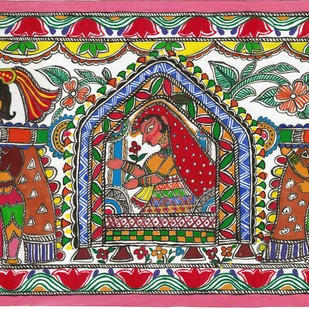 Madhubani - Doli and vidaai by Jyoti Mallick, Folk Painting, Acrylic & Ink on Canvas, Brown color