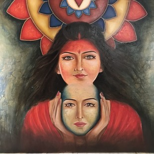 Hidden strength by Ranjeeta verma, Expressionism Painting, Oil on Canvas, Brown color