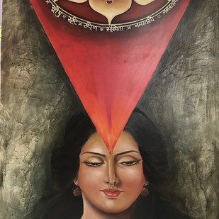 Bhuvaneshwari by Ranjeeta verma, Expressionism Painting, Oil on Canvas, Brown color