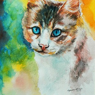 Cat by Rajmohan, Impressionism Painting, Watercolor & Ink on Paper, Beige color