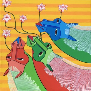 Untitled by Thota Laxminarayana, Expressionism Painting, Acrylic on Canvas, Orange color