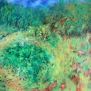 landscape by Palash chandra naskar, Expressionism Painting, Acrylic on Board, Green color