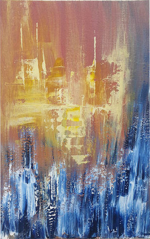 sunrise from high rise by Trpti Malhotra, Abstract Painting, Acrylic on Canvas, Brown color