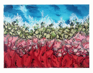 coral sea shore by Trpti Malhotra, Abstract Painting, Acrylic on Canvas, Cyan color