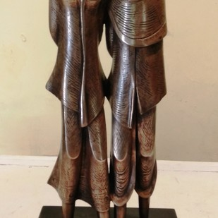 Couple by N.S. Rana, Art Deco Sculpture | 3D, Bronze, Beige color