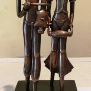 Two Musician by N.S. Rana, Art Deco Sculpture | 3D, Bronze, Beige color