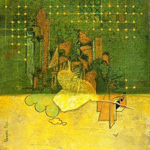 Flight of Fantasy 03 by Vijaylaxmi D Mer, Expressionism Painting, Mixed Media on Canvas, Green color
