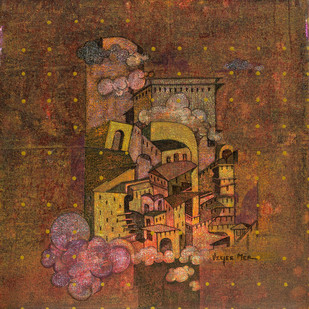 Flight of Fantasy 06 by Vijaylaxmi D Mer, Fantasy Painting, Mixed Media on Canvas, Brown color