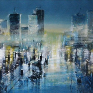 An Evening in Mumbai by Surajit Chakraborty, Expressionism Painting, Acrylic & Ink on Canvas, Red color