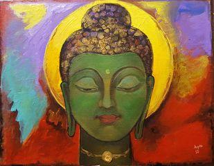 Buddha by Arpita Dasgupta, Expressionism Painting, Acrylic on Canvas, Brown color