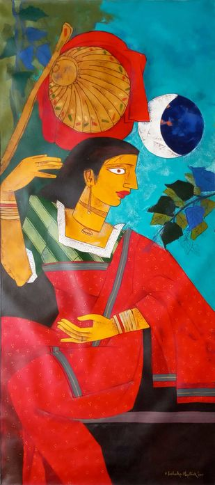 Sitting Woman by Ashoke Mullick, Expressionism Painting, Acrylic on Canvas, Red color