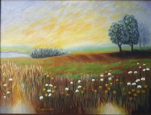 YELLOW SHADES by VINOD PRAKASH , Expressionism Painting, Oil on Canvas, Brown color