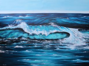 Turquoise Wave by Shveta Saxena, Impressionism Painting, Acrylic on Canvas, Blue color