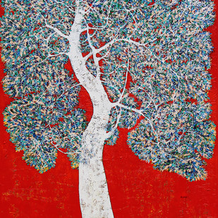 tree of life by Bhaskara Rao Botcha, Expressionism Painting, Acrylic on Canvas, Red color
