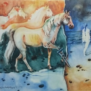 Sea facing lady & the lame horse by Tapan Chattopadhyay, Expressionism Painting, Watercolor on Paper, Green color