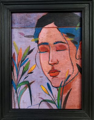 untitled 01 by Milind Thakur, Expressionism Painting, Acrylic on Wood, Brown color