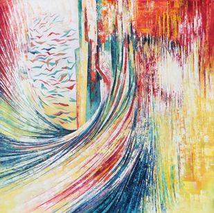 BREAK THROUGH by Ella Prakash, Abstract Painting, Oil on Canvas, Beige color
