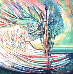 NURTURE by Ella Prakash, Abstract Painting, Oil on Canvas, Cyan color
