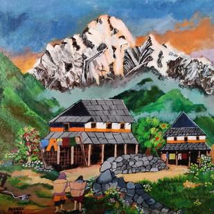 A Himalayan Hamlet by Prateek Katariya, Impressionism Painting, Acrylic on Canvas, Lunar Green color