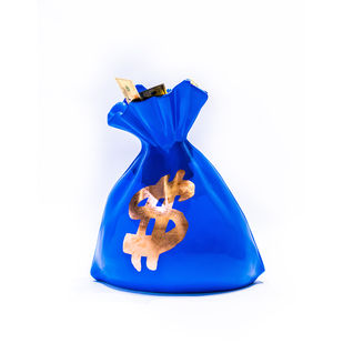 Money Bag sculpture Blue by Sanuj Birla, Pop Art Sculpture | 3D, Fiber Glass, White color