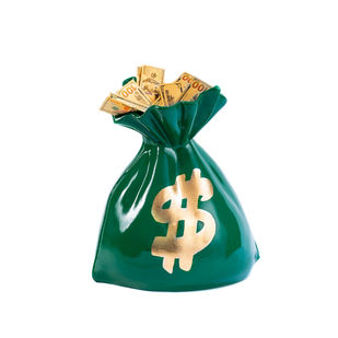 Money Bag sculpture Green by Sanuj Birla, Art Deco Sculpture | 3D, Fiber Glass, White color