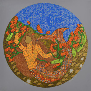 The Golden Womb - 4 by Seema Kohli, Expressionism Serigraph, Serigraph on Metallic film pasted on paper, Brown color
