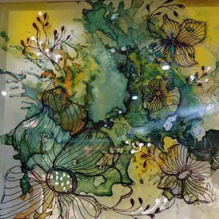 Full Bloom by Sutapa Sengupta, Abstract Painting, Fiber Glass, Green color