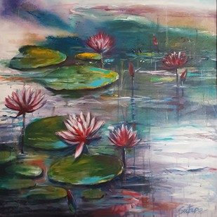 Full Bloom by Sutapa Sengupta, Expressionism Painting, Acrylic on Canvas, Green color