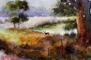 Forest Series by Niladri Ghosh, Impressionism Painting, Watercolor on Paper, Brown color