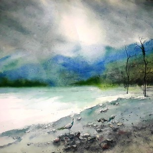 Jayanti by Niladri Ghosh, Impressionism Painting, Watercolor on Paper, Gray color