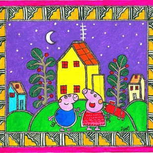 Madhubani - Peppa pig and George Digital Print by Jyoti Mallick,Folk