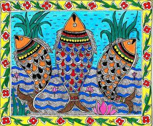 Madhubani - Swirling Fishes Digital Print by Jyoti Mallick,Folk