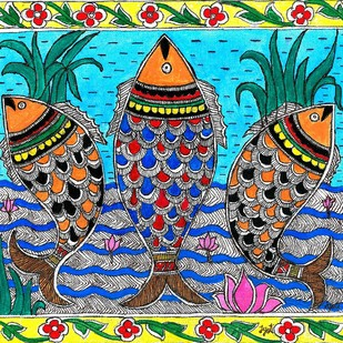 Madhubani - Swirling Fishes Digital Print by Jyoti Mallick,Folk