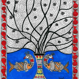 Madhubani - Peacock-Fish fusion by Jyoti Mallick, Folk Painting, Acrylic & Ink on Canvas, Gray color