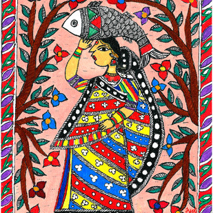 Madhubani - Woman with Fish by Jyoti Mallick, Folk Painting, Acrylic & Ink on Canvas, Brown color