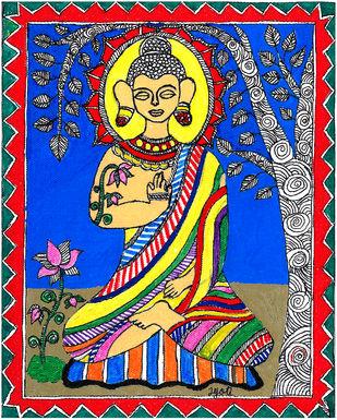 Madhubani - Buddha meditating Digital Print by Jyoti Mallick,Folk
