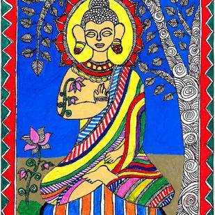 Madhubani - Buddha meditating by Jyoti Mallick, Folk Painting, Acrylic & Ink on Canvas, Brown color