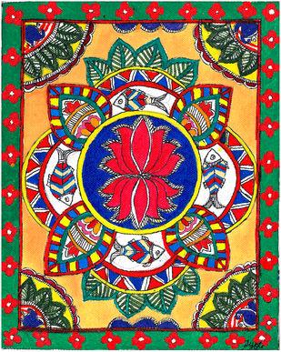 Madhubani - Carps and Lotus Digital Print by Jyoti Mallick,Expressionism
