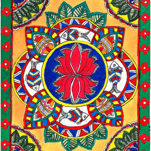 Madhubani - Carps and Lotus by Jyoti Mallick, Expressionism Painting, Acrylic & Ink on Canvas, Brown color