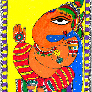 Madhubani - Ganpati by Jyoti Mallick, Expressionism Painting, Acrylic & Ink on Canvas, Beige color