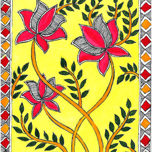 Madhubani - Lotus blossoms by Jyoti Mallick, Folk Painting, Acrylic & Ink on Canvas, Beige color