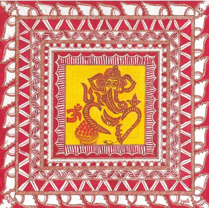 Madhubani - Ganesha by Jyoti Mallick, Folk Painting, Acrylic & Ink on Canvas, Pink color