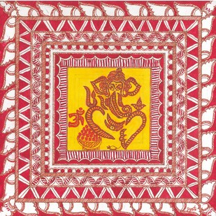 Madhubani - Ganesha by Jyoti Mallick, Folk Painting, Acrylic & Ink on Canvas, Pink color