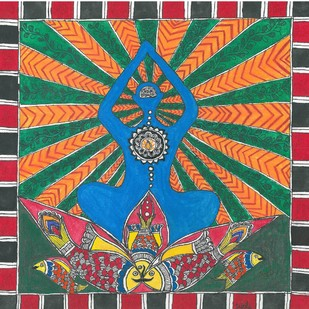 Madhubani - Meditation by Jyoti Mallick, Folk Painting, Acrylic & Ink on Canvas, Brown color