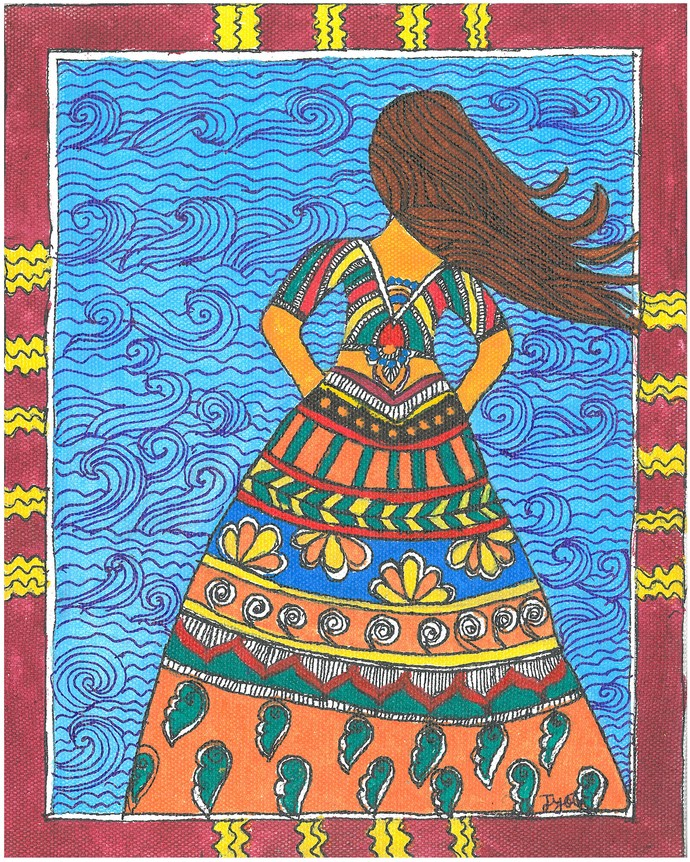 Madhubani - Woman in the wind by Jyoti Mallick, Folk Painting, Acrylic & Ink on Canvas, Brown color
