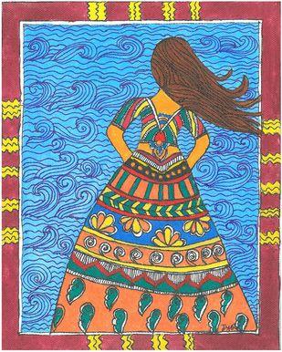 Madhubani - Woman in the wind Digital Print by Jyoti Mallick,Folk