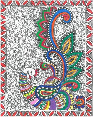 Madhubani - Mayur(Peacock) Digital Print by Jyoti Mallick,Folk